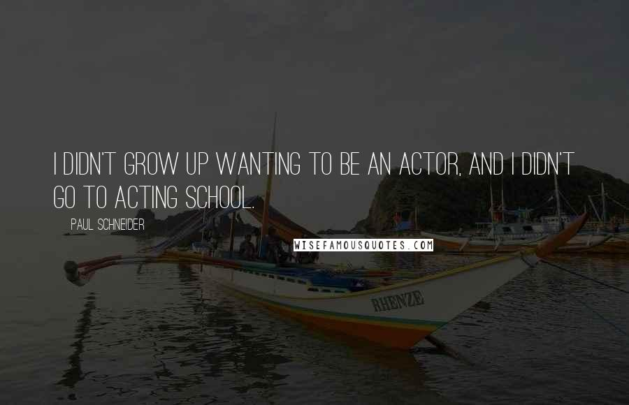 Paul Schneider quotes: I didn't grow up wanting to be an actor, and I didn't go to acting school.