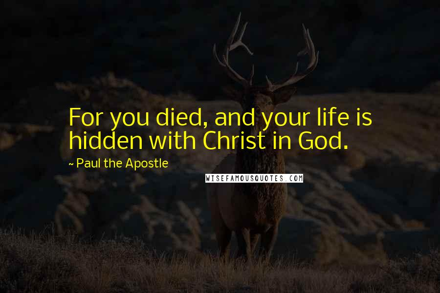 Paul The Apostle quotes: For you died, and your life is hidden with Christ in God.