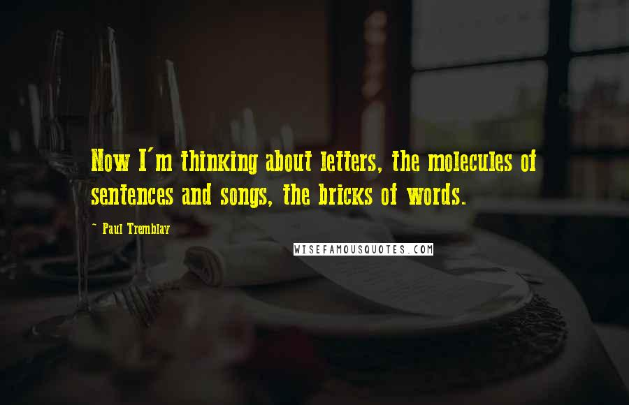 Paul Tremblay quotes: Now I'm thinking about letters, the molecules of sentences and songs, the bricks of words.