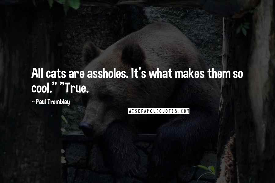 """Paul Tremblay quotes: All cats are assholes. It's what makes them so cool."""" """"True."""
