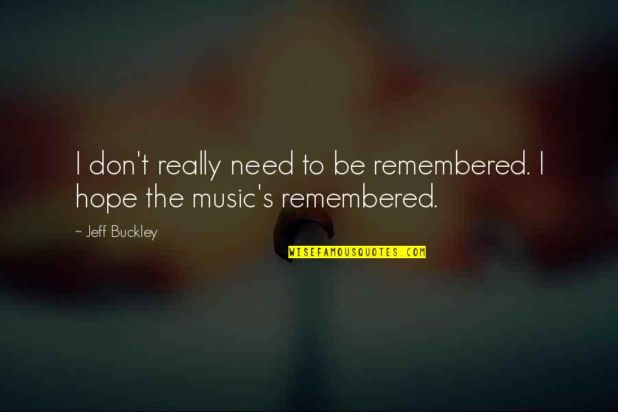 Paul Tsika Quotes By Jeff Buckley: I don't really need to be remembered. I