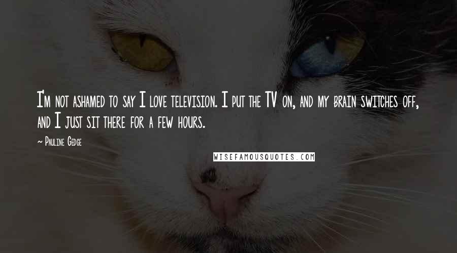 Pauline Gedge quotes: I'm not ashamed to say I love television. I put the TV on, and my brain switches off, and I just sit there for a few hours.