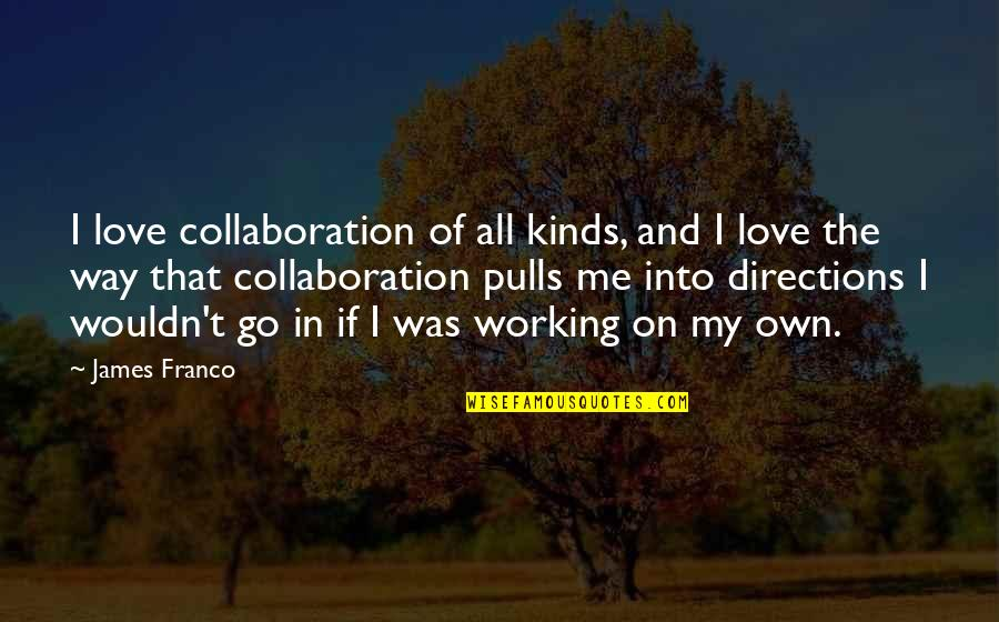 Pawnee Indiana Quotes By James Franco: I love collaboration of all kinds, and I