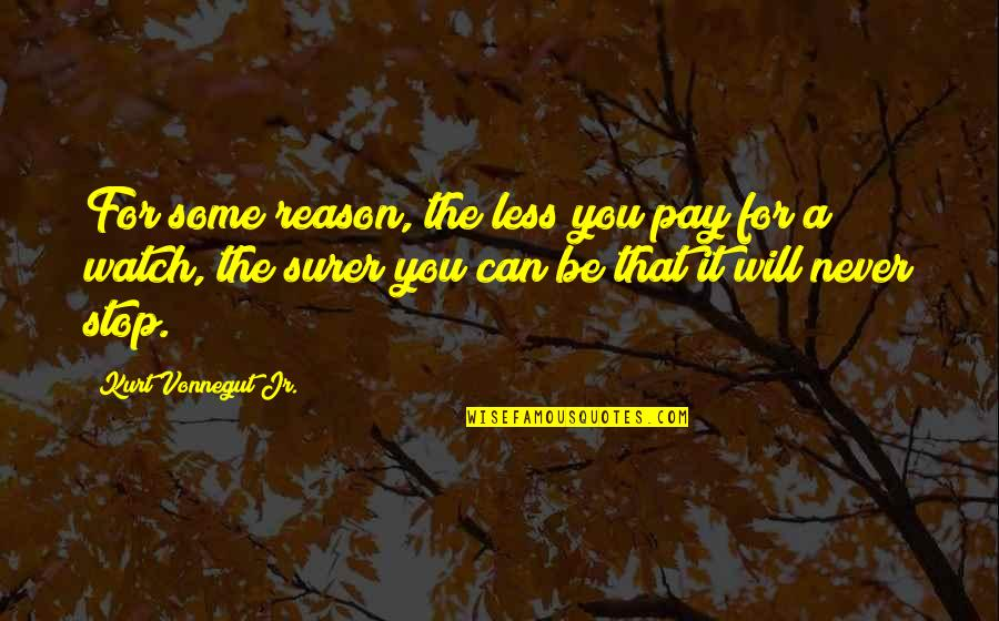 Pay For It Quotes By Kurt Vonnegut Jr.: For some reason, the less you pay for
