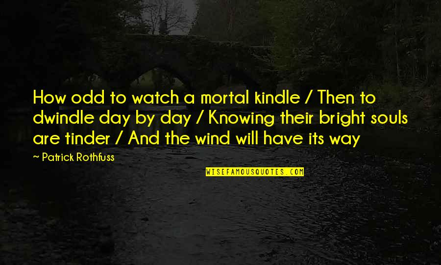Payback Relationship Quotes By Patrick Rothfuss: How odd to watch a mortal kindle /