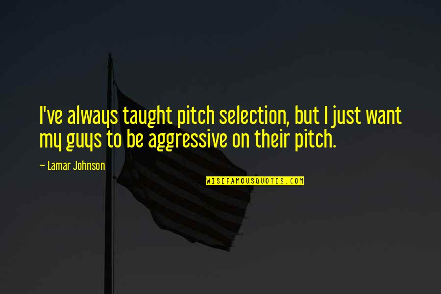 Payday The Heist Dallas Quotes By Lamar Johnson: I've always taught pitch selection, but I just