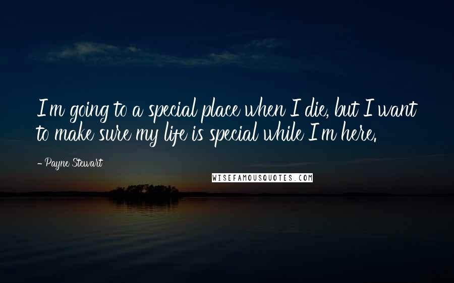 Payne Stewart quotes: I'm going to a special place when I die, but I want to make sure my life is special while I'm here.