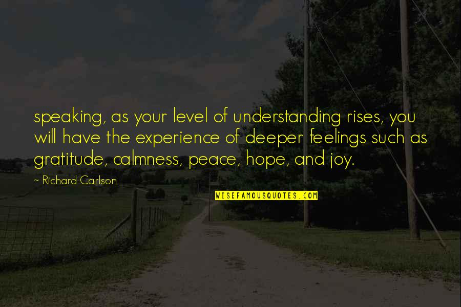 Peace And Joy Quotes By Richard Carlson: speaking, as your level of understanding rises, you