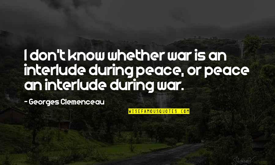 Peace During War Quotes By Georges Clemenceau: I don't know whether war is an interlude