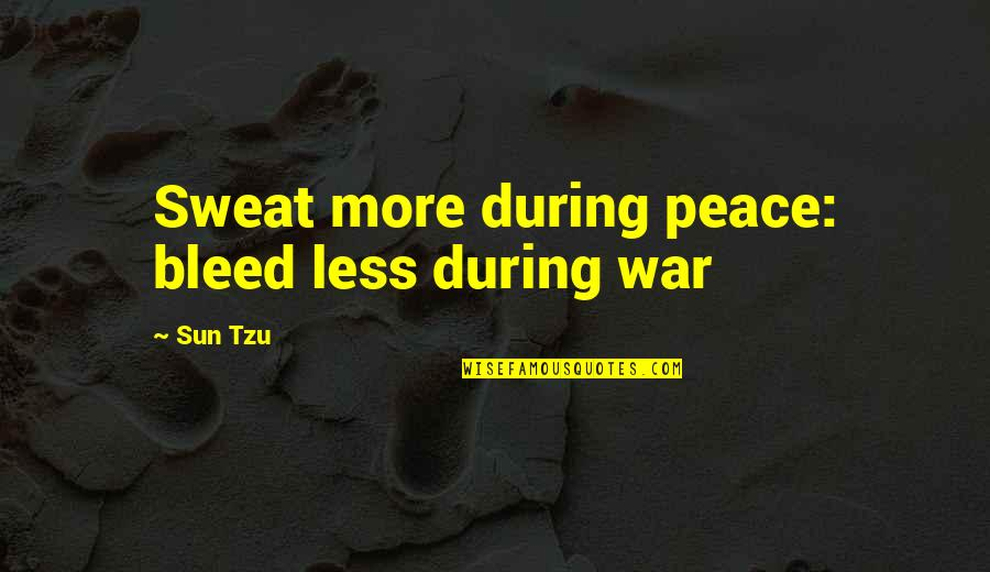 Peace During War Quotes By Sun Tzu: Sweat more during peace: bleed less during war