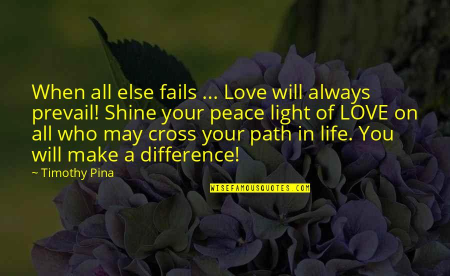 Peace Love And Light Quotes By Timothy Pina: When all else fails ... Love will always