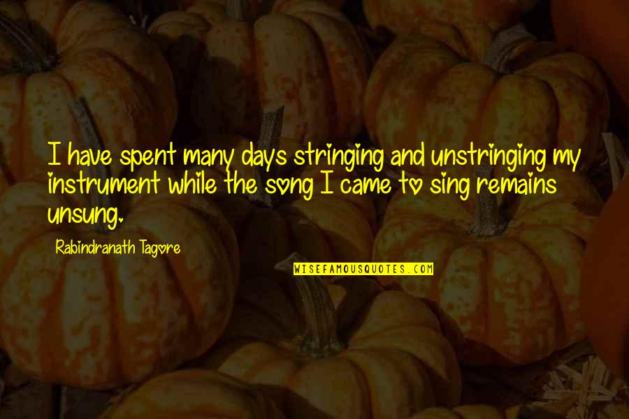 Peace Na Tayo Quotes By Rabindranath Tagore: I have spent many days stringing and unstringing
