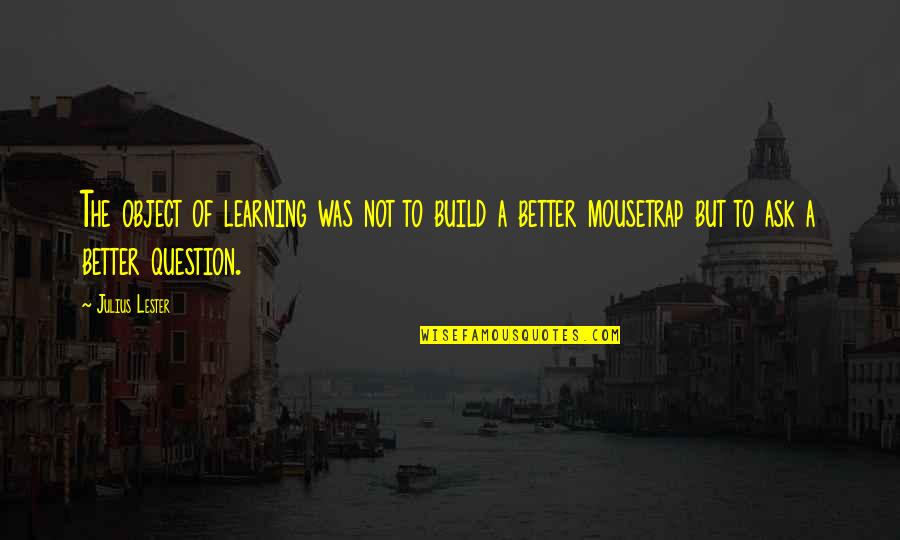 Peace Of Mind And Body Quotes By Julius Lester: The object of learning was not to build