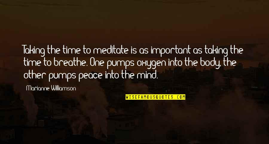 Peace Of Mind And Body Quotes By Marianne Williamson: Taking the time to meditate is as important
