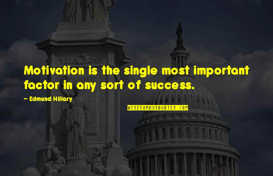 Peaceful Election Quotes By Edmund Hillary: Motivation is the single most important factor in