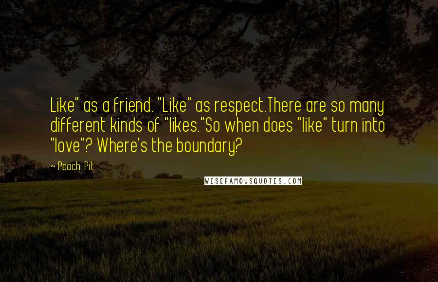 "Peach-Pit quotes: Like"" as a friend. ""Like"" as respect.There are so many different kinds of ""likes.""So when does ""like"" turn into ""love""? Where's the boundary?"