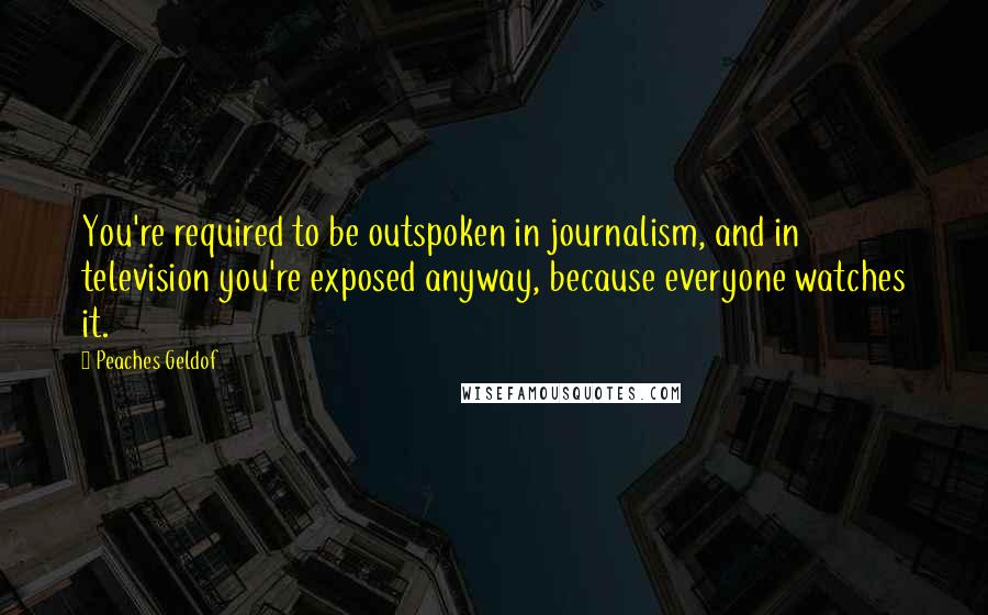 Peaches Geldof quotes: You're required to be outspoken in journalism, and in television you're exposed anyway, because everyone watches it.
