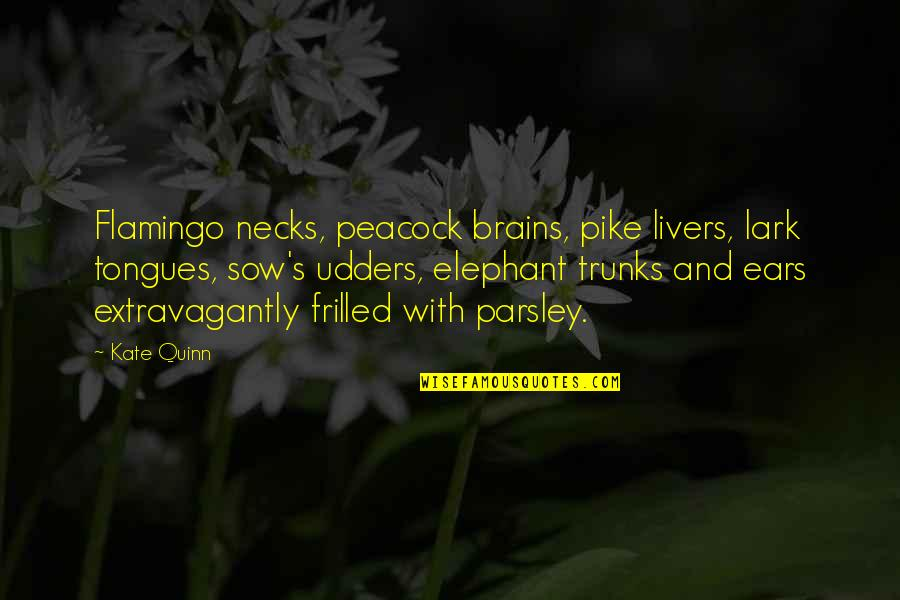 Peacock Quotes By Kate Quinn: Flamingo necks, peacock brains, pike livers, lark tongues,