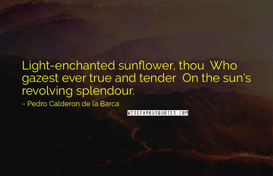 Pedro Calderon De La Barca quotes: Light-enchanted sunflower, thou Who gazest ever true and tender On the sun's revolving splendour.
