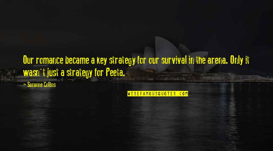 Peeta Quotes By Suzanne Collins: Our romance became a key strategy for our