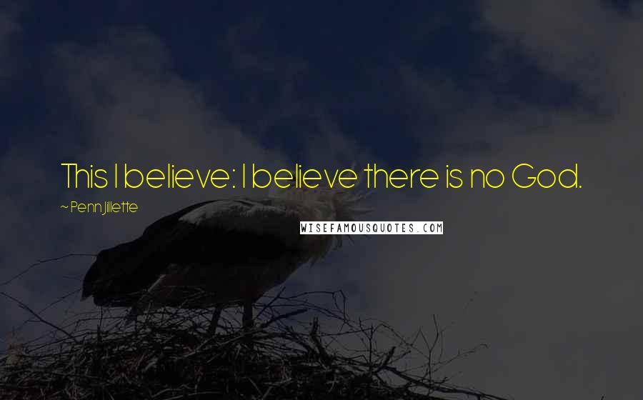 Penn Jillette quotes: This I believe: I believe there is no God.