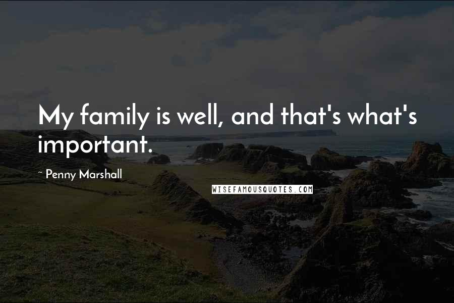 Penny Marshall quotes: My family is well, and that's what's important.