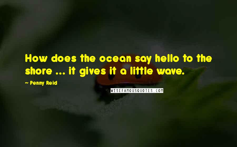 Penny Reid quotes: How does the ocean say hello to the shore ... it gives it a little wave.