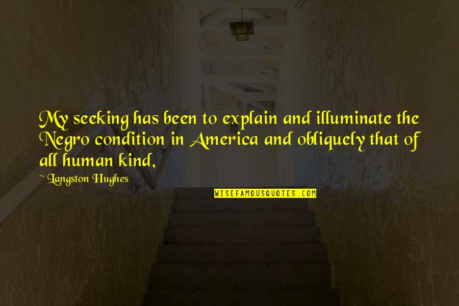 People With Hazel Eyes Quotes By Langston Hughes: My seeking has been to explain and illuminate