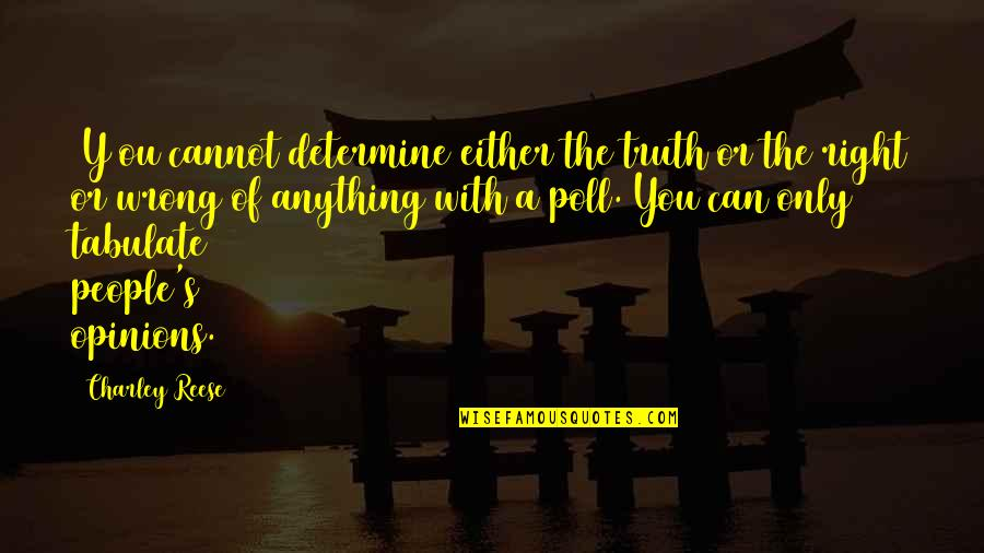People's Opinions Quotes By Charley Reese: [Y]ou cannot determine either the truth or the