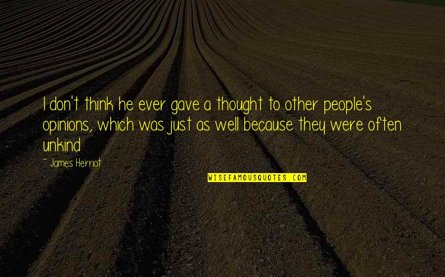 People's Opinions Quotes By James Herriot: I don't think he ever gave a thought