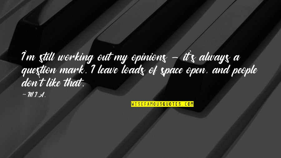 People's Opinions Quotes By M.I.A.: I'm still working out my opinions - it's