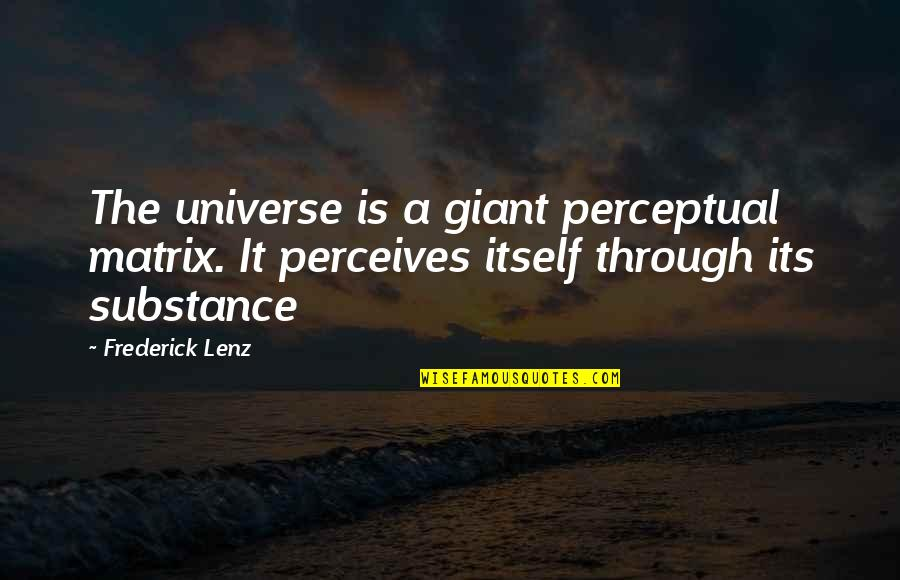 Perceives Quotes By Frederick Lenz: The universe is a giant perceptual matrix. It