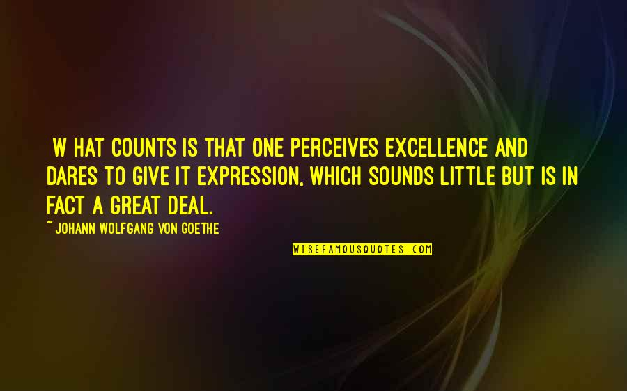 Perceives Quotes By Johann Wolfgang Von Goethe: [W]hat counts is that one perceives excellence and