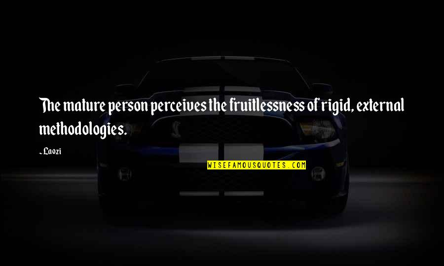 Perceives Quotes By Laozi: The mature person perceives the fruitlessness of rigid,
