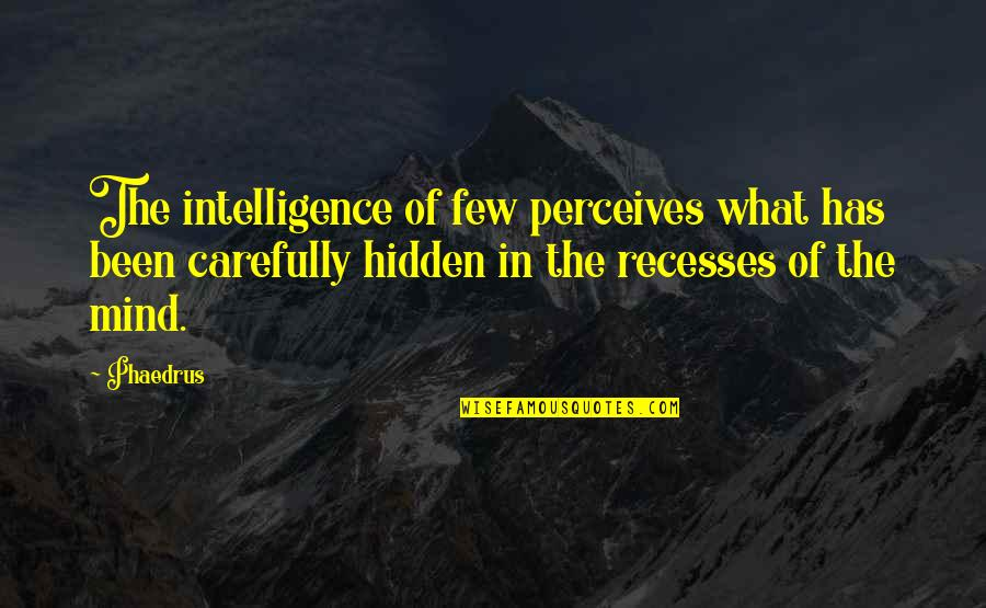 Perceives Quotes By Phaedrus: The intelligence of few perceives what has been
