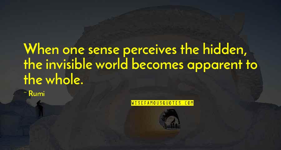 Perceives Quotes By Rumi: When one sense perceives the hidden, the invisible