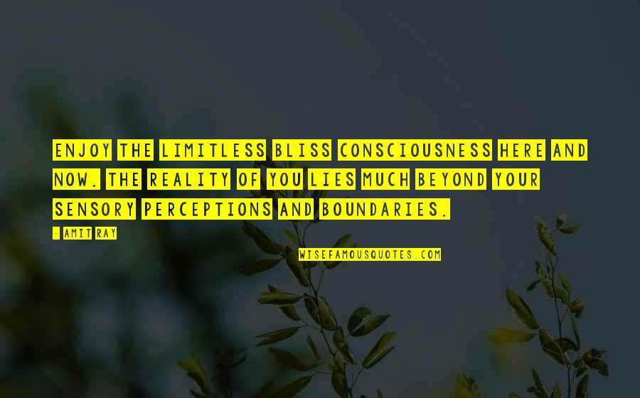 Perceptions Quotes By Amit Ray: Enjoy the limitless bliss consciousness here and now.