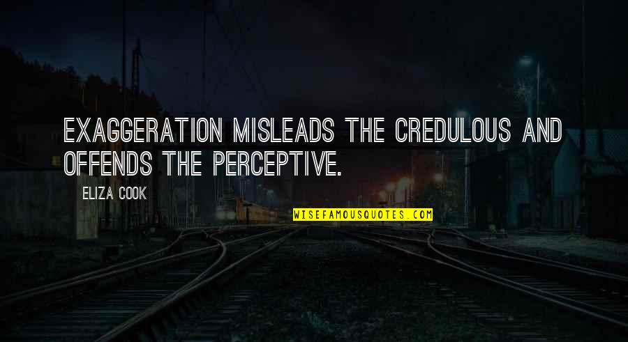 Perceptive Quotes By Eliza Cook: Exaggeration misleads the credulous and offends the perceptive.
