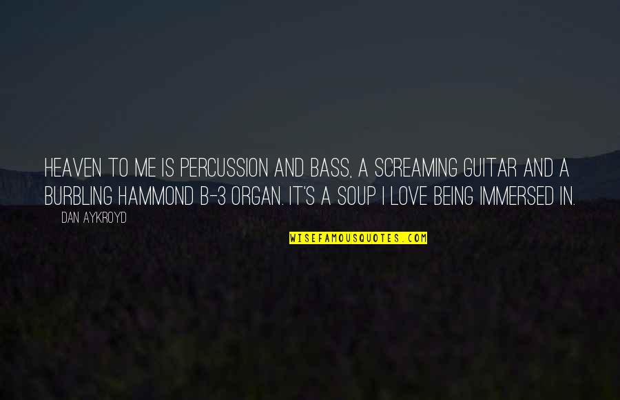 Percussion Quotes By Dan Aykroyd: Heaven to me is percussion and bass, a