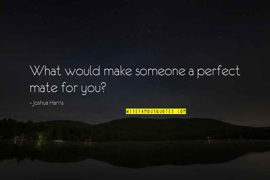 Perfect Mate Quotes By Joshua Harris: What would make someone a perfect mate for
