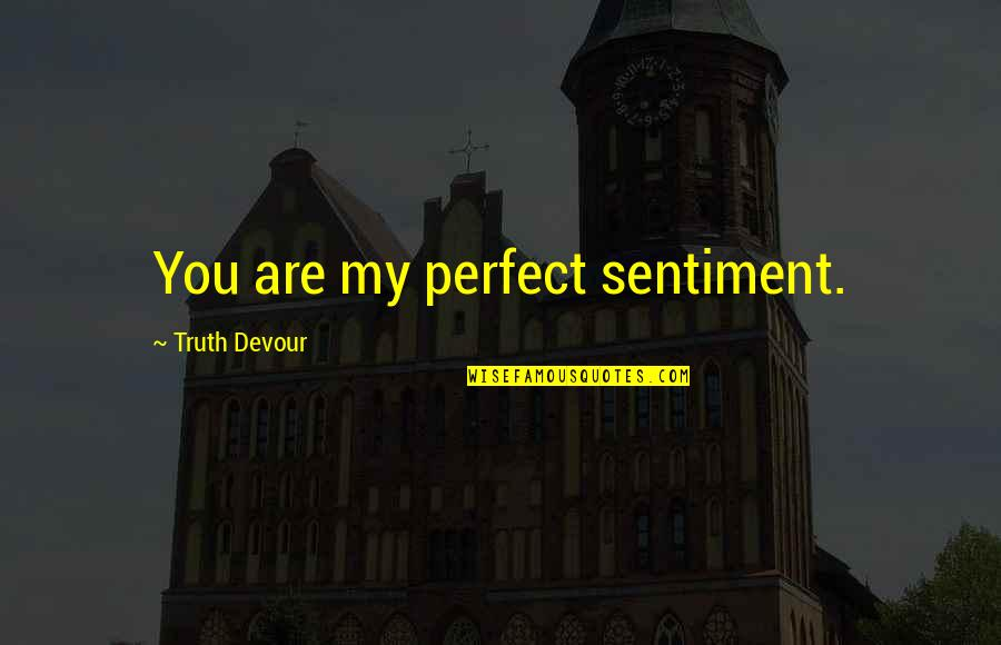Perfect Mate Quotes By Truth Devour: You are my perfect sentiment.