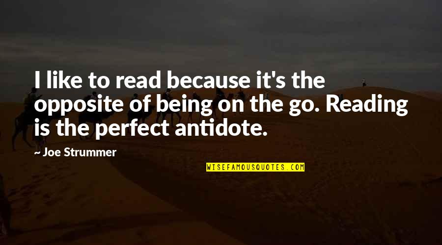 Perfect Opposites Quotes By Joe Strummer: I like to read because it's the opposite