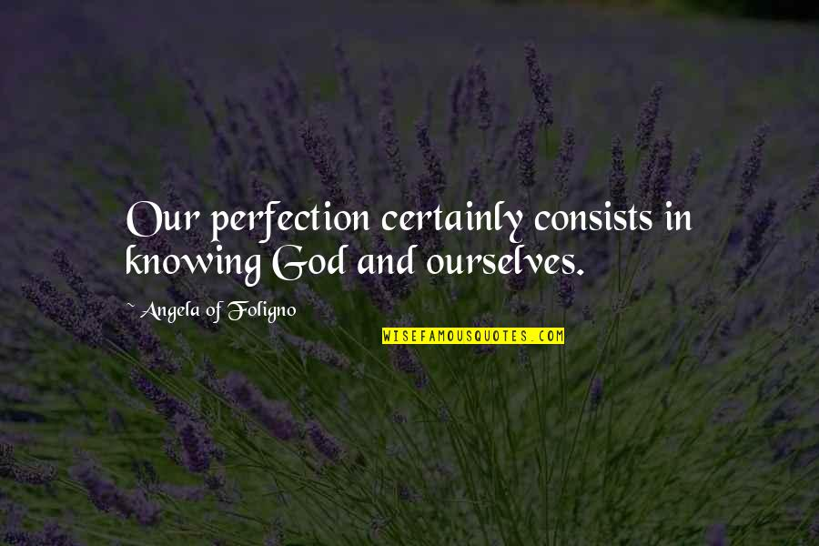 Perfection And God Quotes By Angela Of Foligno: Our perfection certainly consists in knowing God and