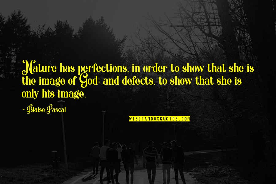 Perfection And God Quotes By Blaise Pascal: Nature has perfections, in order to show that