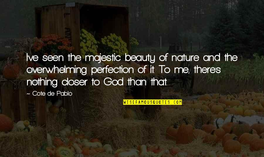 Perfection And God Quotes By Cote De Pablo: I've seen the majestic beauty of nature and