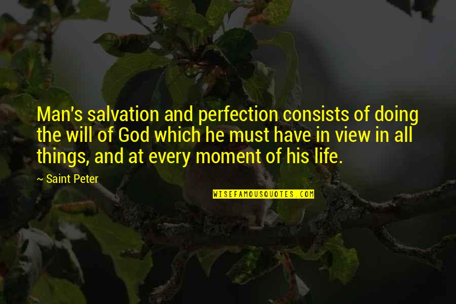 Perfection And God Quotes By Saint Peter: Man's salvation and perfection consists of doing the