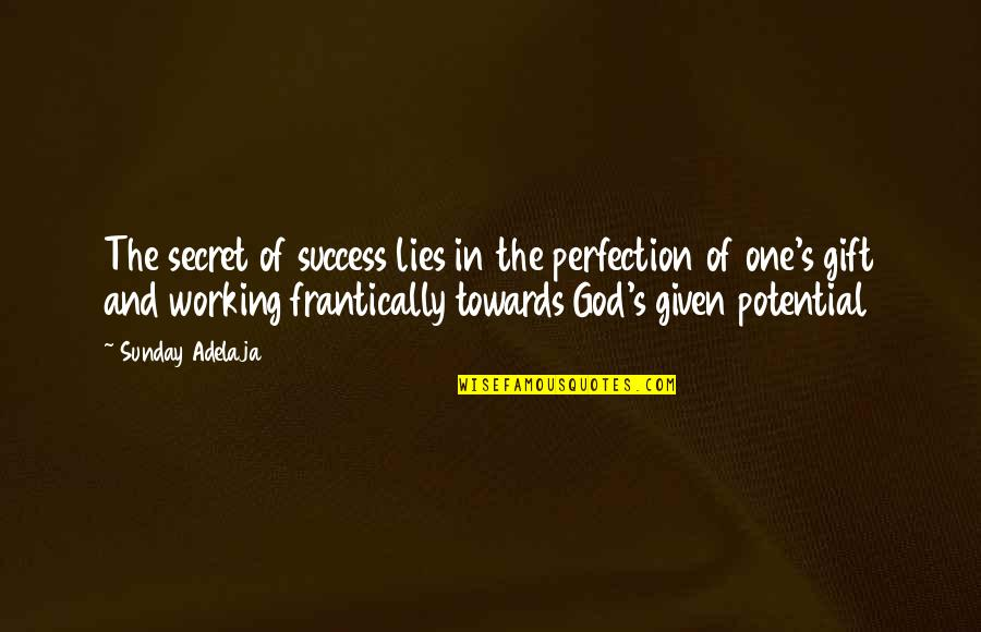 Perfection And God Quotes By Sunday Adelaja: The secret of success lies in the perfection