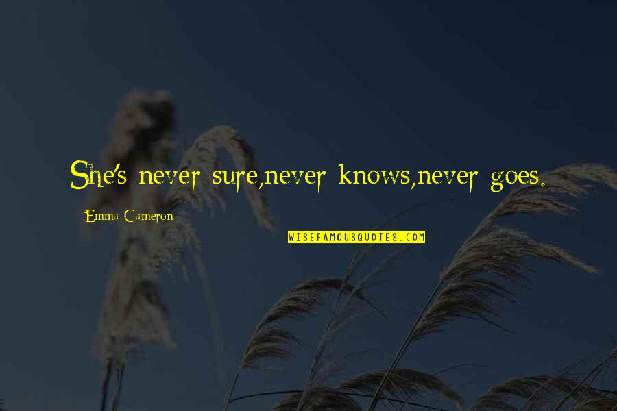Persephone And Hades Quotes By Emma Cameron: She's never sure,never knows,never goes.