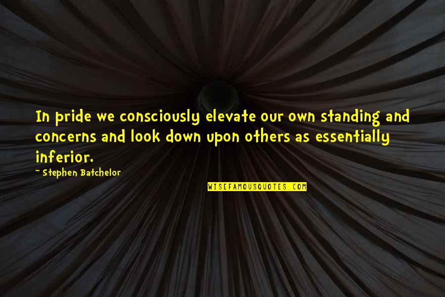 Personality Cult Quotes By Stephen Batchelor: In pride we consciously elevate our own standing