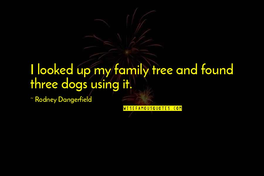 Pet Dogs Quotes By Rodney Dangerfield: I looked up my family tree and found